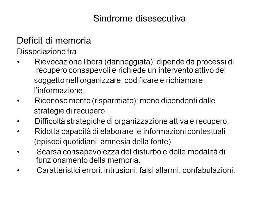 Sindrome disesecutiva Deficit di memoria Dissociazione tra Rievocazione libera (danneggiata): dipende da processi di recupero consapevoli e richiede u