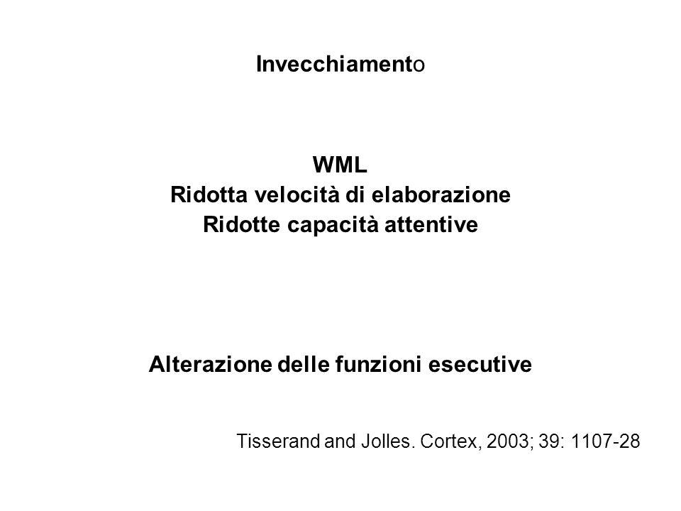 Invecchiamento WML Ridotta velocità di elaborazione Ridotte capacità attentive Alterazione delle funzioni esecutive Tisserand and Jolles. Cortex, 2003