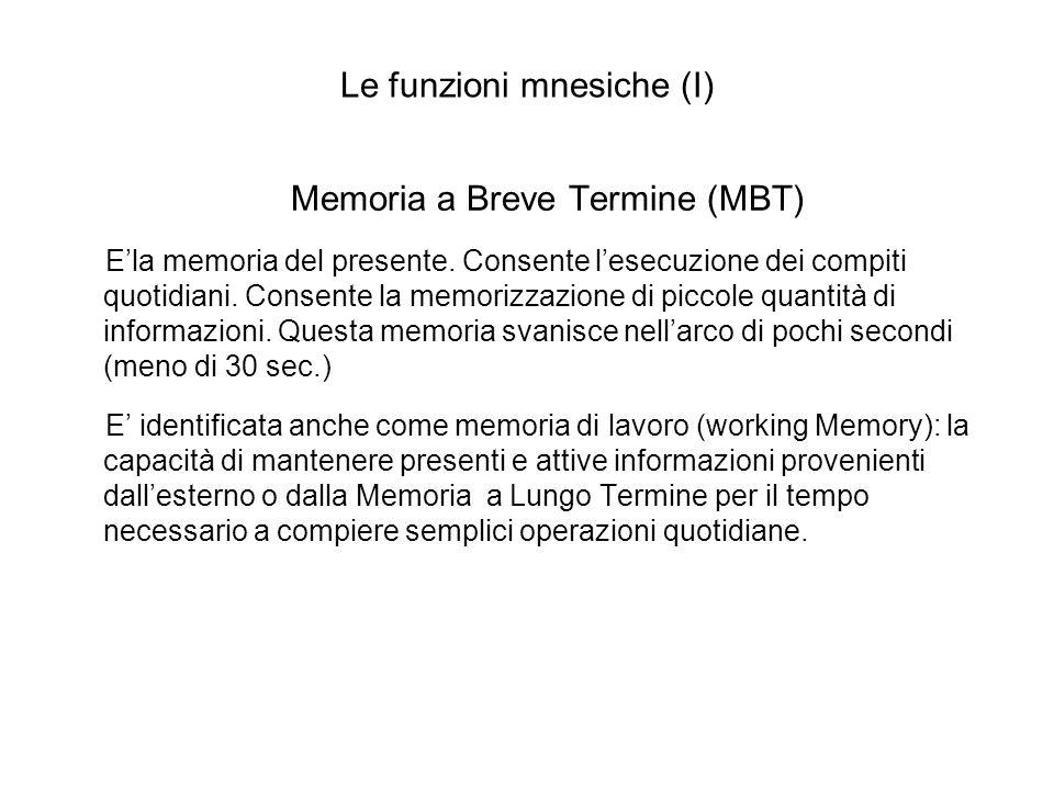 Le funzioni mnesiche (I) Memoria a Breve Termine (MBT) Ela memoria del presente. Consente lesecuzione dei compiti quotidiani. Consente la memorizzazio