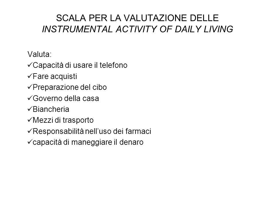 SCALA PER LA VALUTAZIONE DELLE INSTRUMENTAL ACTIVITY OF DAILY LIVING Valuta: Capacità di usare il telefono Fare acquisti Preparazione del cibo Governo
