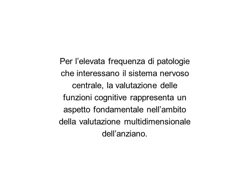 Per lelevata frequenza di patologie che interessano il sistema nervoso centrale, la valutazione delle funzioni cognitive rappresenta un aspetto fondam