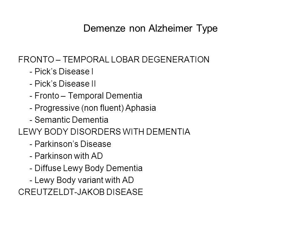 Demenze non Alzheimer Type FRONTO – TEMPORAL LOBAR DEGENERATION - Picks Disease I - Picks Disease II - Fronto – Temporal Dementia - Progressive (non f
