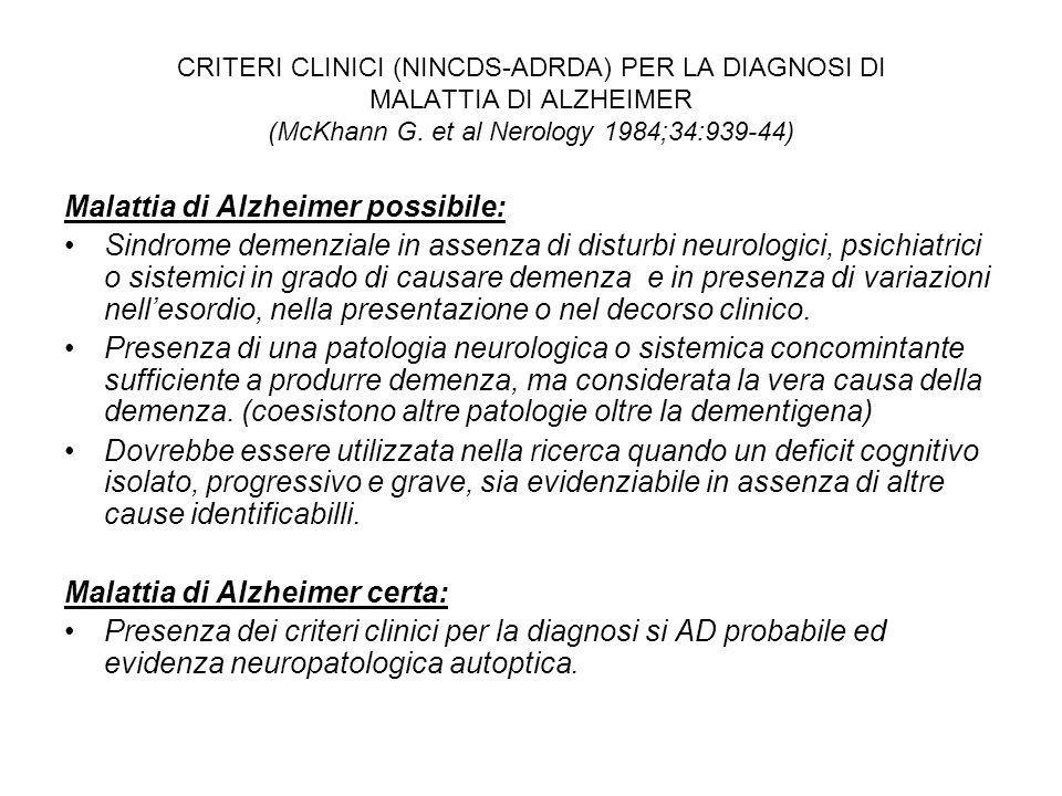 CRITERI CLINICI (NINCDS-ADRDA) PER LA DIAGNOSI DI MALATTIA DI ALZHEIMER (McKhann G. et al Nerology 1984;34:939-44) Malattia di Alzheimer possibile: Si