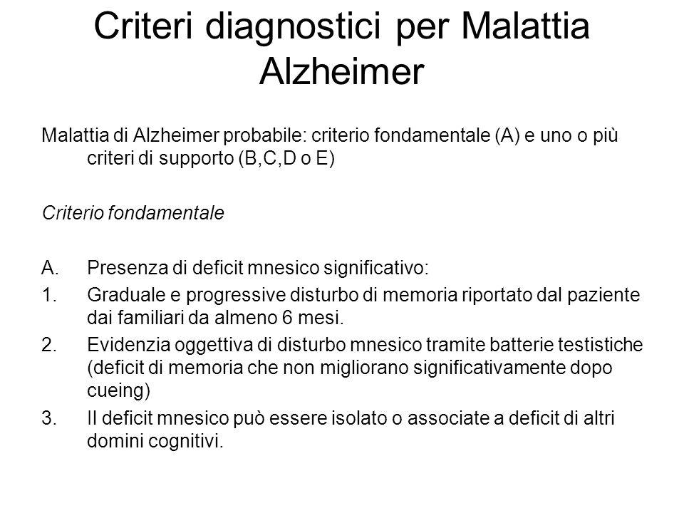 Criteri diagnostici per Malattia Alzheimer Malattia di Alzheimer probabile: criterio fondamentale (A) e uno o più criteri di supporto (B,C,D o E) Crit