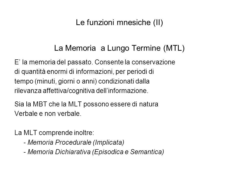Le funzioni mnesiche (II) La Memoria a Lungo Termine (MTL) E la memoria del passato. Consente la conservazione di quantità enormi di informazioni, per