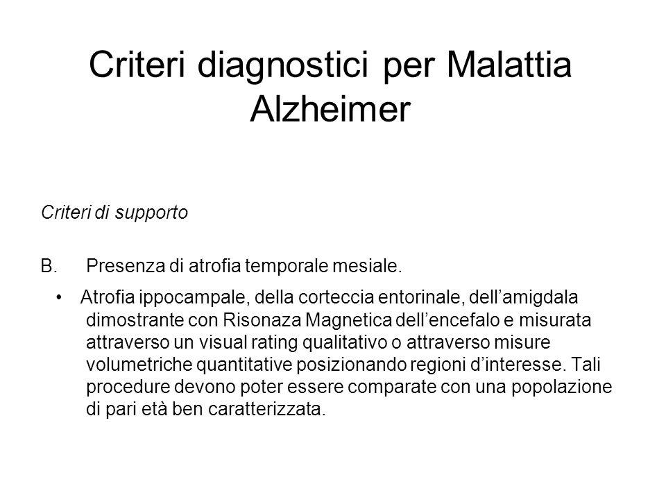 Criteri diagnostici per Malattia Alzheimer Criteri di supporto B.Presenza di atrofia temporale mesiale. Atrofia ippocampale, della corteccia entorinal