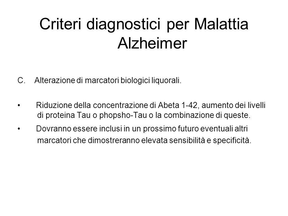 Criteri diagnostici per Malattia Alzheimer C. Alterazione di marcatori biologici liquorali. Riduzione della concentrazione di Abeta 1-42, aumento dei