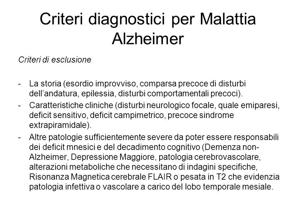 Criteri diagnostici per Malattia Alzheimer Criteri di esclusione -La storia (esordio improvviso, comparsa precoce di disturbi dellandatura, epilessia,