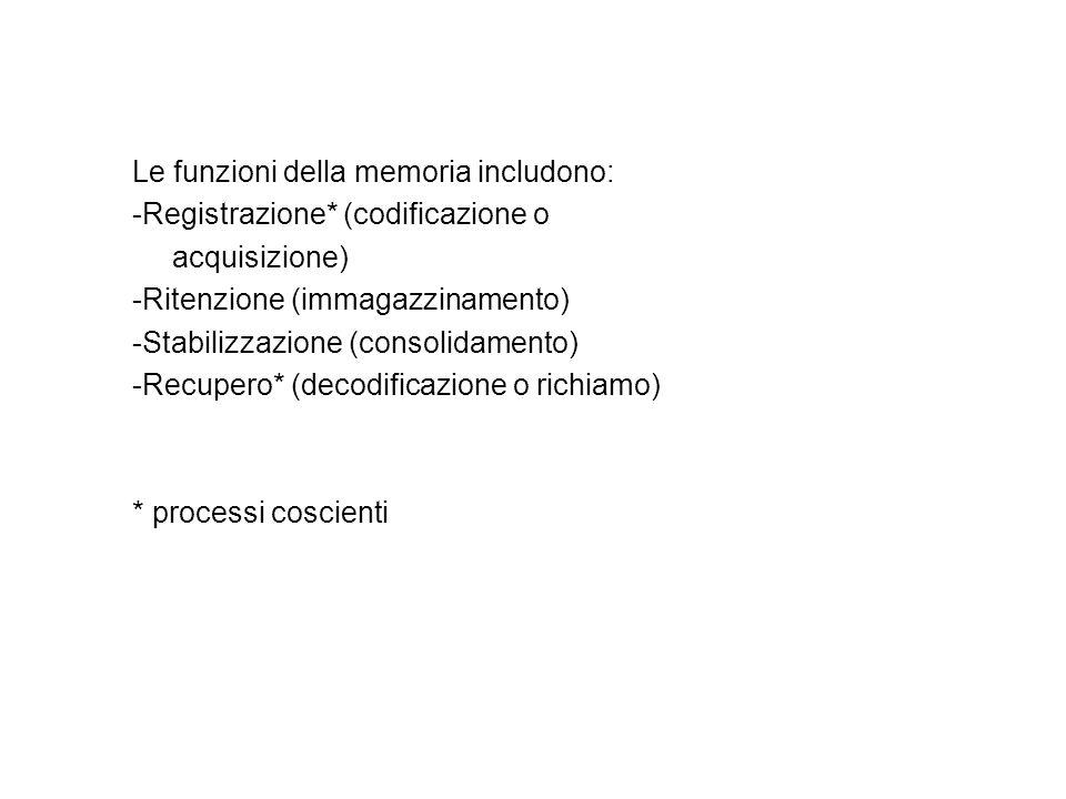 Le funzioni della memoria includono: -Registrazione* (codificazione o acquisizione) -Ritenzione (immagazzinamento) -Stabilizzazione (consolidamento) -