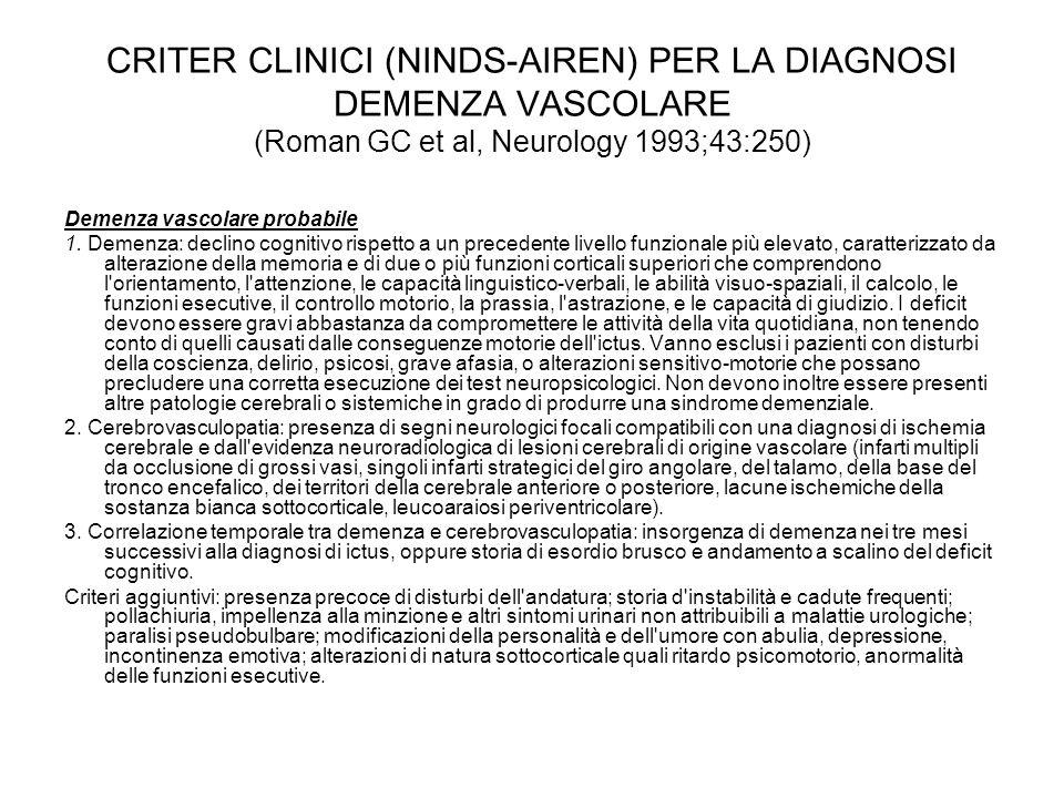 CRITER CLINICI (NINDS-AIREN) PER LA DIAGNOSI DEMENZA VASCOLARE (Roman GC et al, Neurology 1993;43:250) Demenza vascolare probabile 1. Demenza: declino