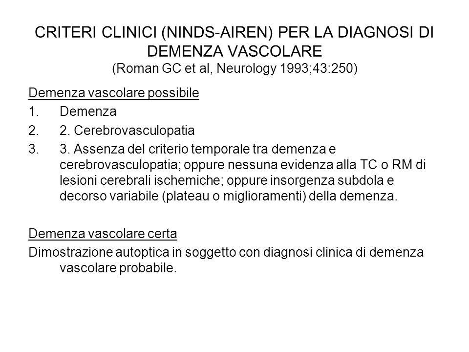 CRITERI CLINICI (NINDS-AIREN) PER LA DIAGNOSI DI DEMENZA VASCOLARE (Roman GC et al, Neurology 1993;43:250) Demenza vascolare possibile 1.Demenza 2.2.