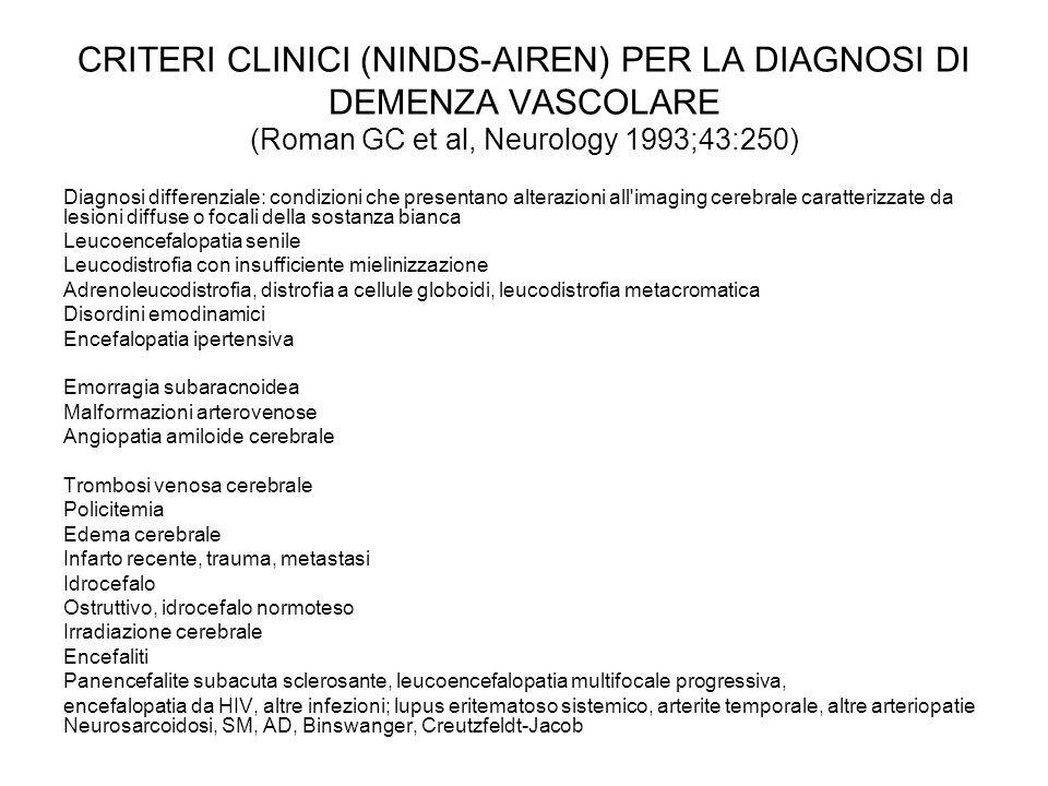 CRITERI CLINICI (NINDS-AIREN) PER LA DIAGNOSI DI DEMENZA VASCOLARE (Roman GC et al, Neurology 1993;43:250) Diagnosi differenziale: condizioni che pres
