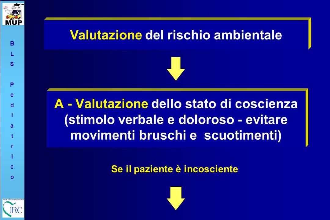 A - Valutazione dello stato di coscienza (stimolo verbale e doloroso - evitare movimenti bruschi e scuotimenti) Valutazione del rischio ambientale Se