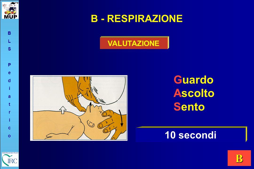 Guardo Ascolto Sento VALUTAZIONE B - RESPIRAZIONE 10 secondi BLSPediatricoBLSPediatrico B