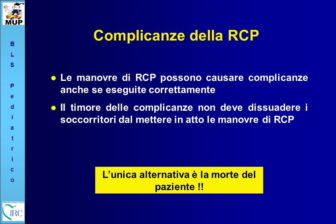 Complicanze della RCP Le manovre di RCP possono causare complicanze anche se eseguite correttamente Il timore delle complicanze non deve dissuadere i