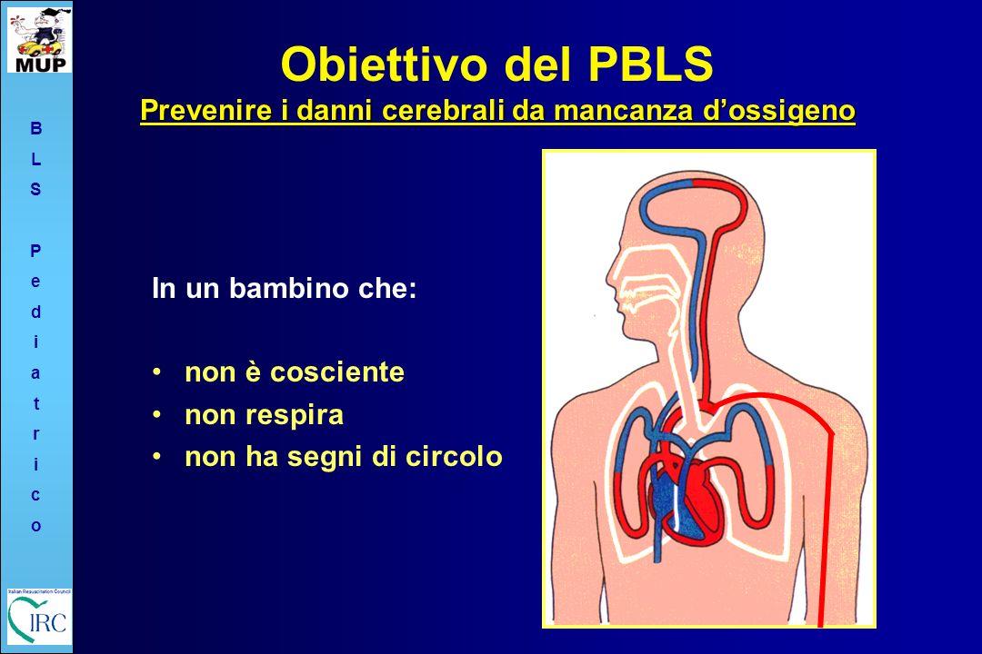 BLSPediatricoBLSPediatrico Prevenire i danni cerebrali da mancanza dossigeno Obiettivo del PBLS Prevenire i danni cerebrali da mancanza dossigeno In u