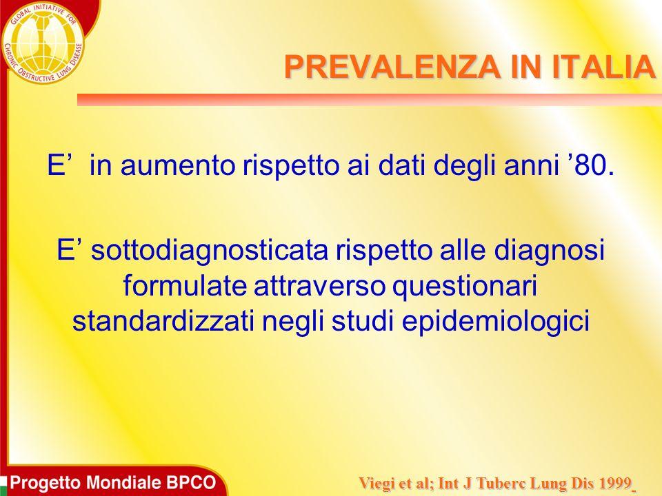 PREVALENZA IN ITALIA E in aumento rispetto ai dati degli anni 80. E sottodiagnosticata rispetto alle diagnosi formulate attraverso questionari standar