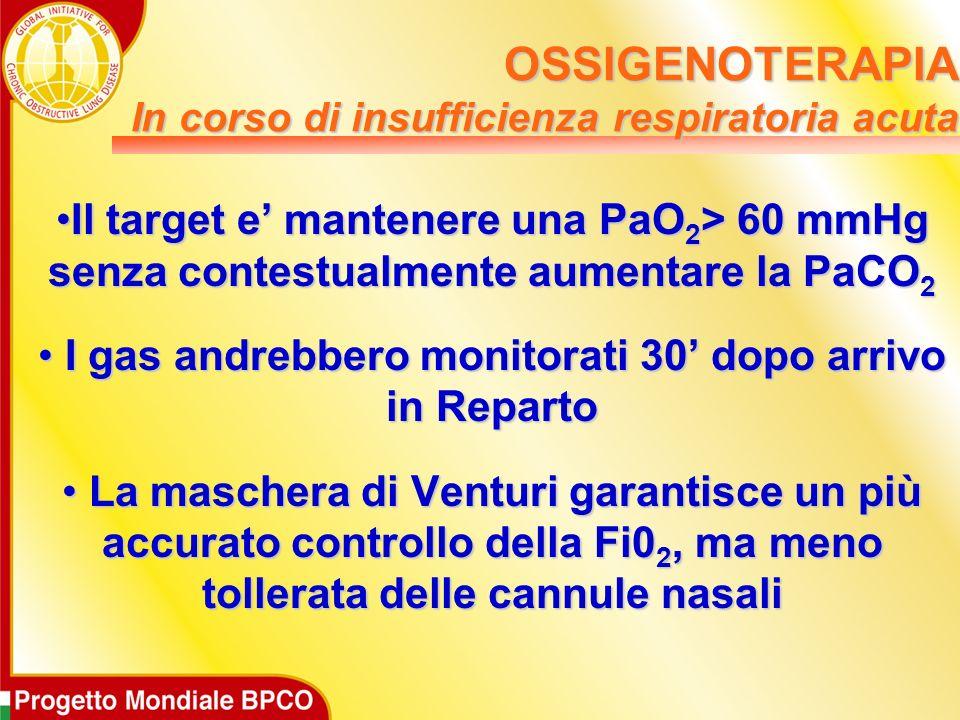 OSSIGENOTERAPIA In corso di insufficienza respiratoria acuta Il target e mantenere una PaO 2 > 60 mmHg senza contestualmente aumentare la PaCO 2Il tar