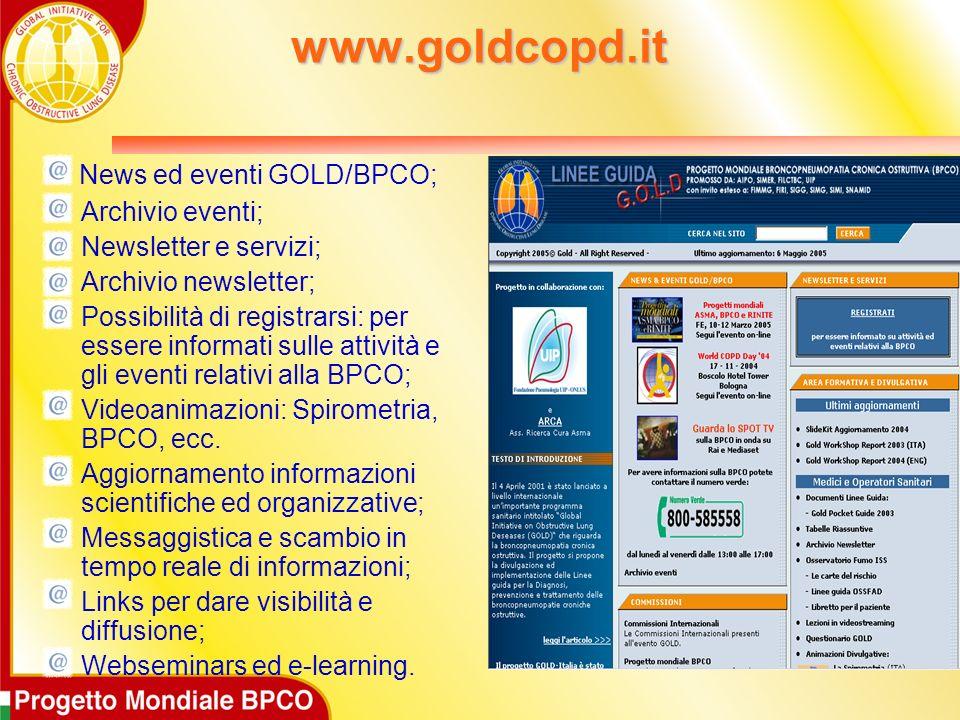 www.goldcopd.it News ed eventi GOLD/BPCO; Archivio eventi; Newsletter e servizi; Archivio newsletter; Possibilità di registrarsi: per essere informati