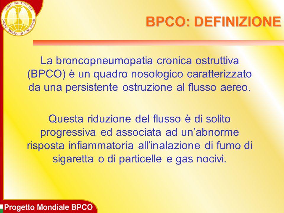 BPCO: DEFINIZIONE La broncopneumopatia cronica ostruttiva (BPCO) è un quadro nosologico caratterizzato da una persistente ostruzione al flusso aereo.