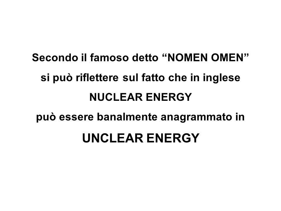 Secondo il famoso detto NOMEN OMEN si può riflettere sul fatto che in inglese NUCLEAR ENERGY può essere banalmente anagrammato in UNCLEAR ENERGY