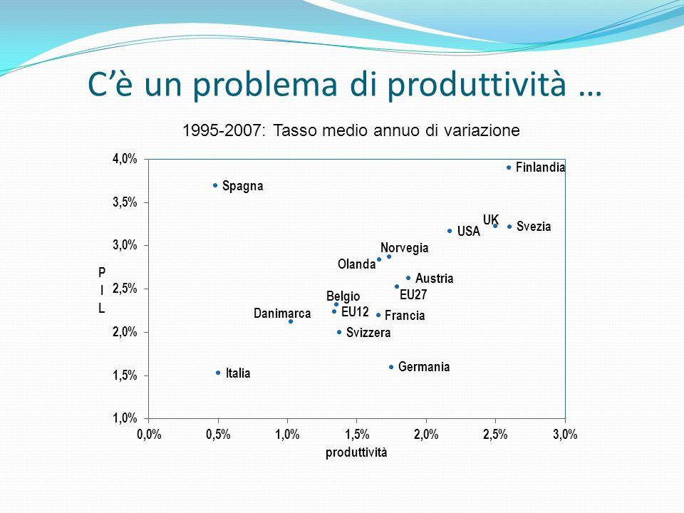 Cè un problema di produttività … 1995-2007: Tasso medio annuo di variazione