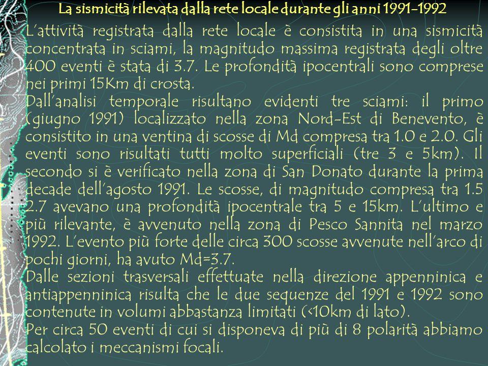 La sismicità rilevata dalla rete locale durante gli anni 1991-1992 Lattività registrata dalla rete locale è consistita in una sismicità concentrata in