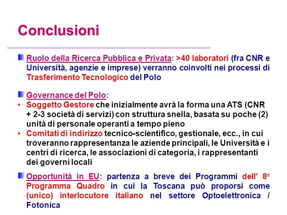 Ruolo della Ricerca Pubblica e Privata: >40 laboratori (fra CNR e Università, agenzie e imprese) verranno coinvolti nei processi di Trasferimento Tecn