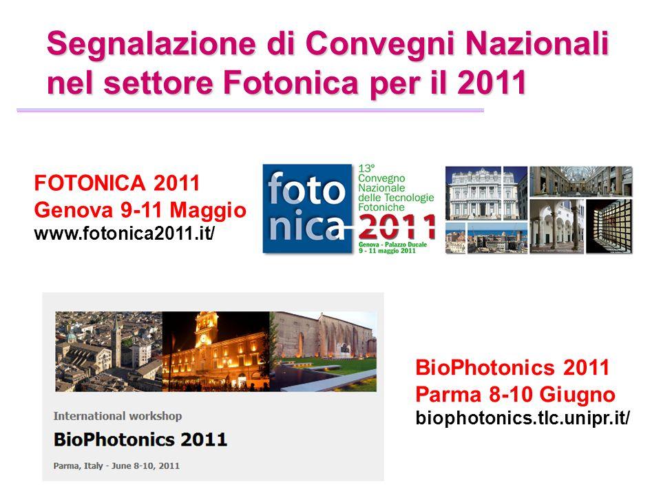 Segnalazione di Convegni Nazionali nel settore Fotonica per il 2011 FOTONICA 2011 Genova 9-11 Maggio www.fotonica2011.it/ BioPhotonics 2011 Parma 8-10