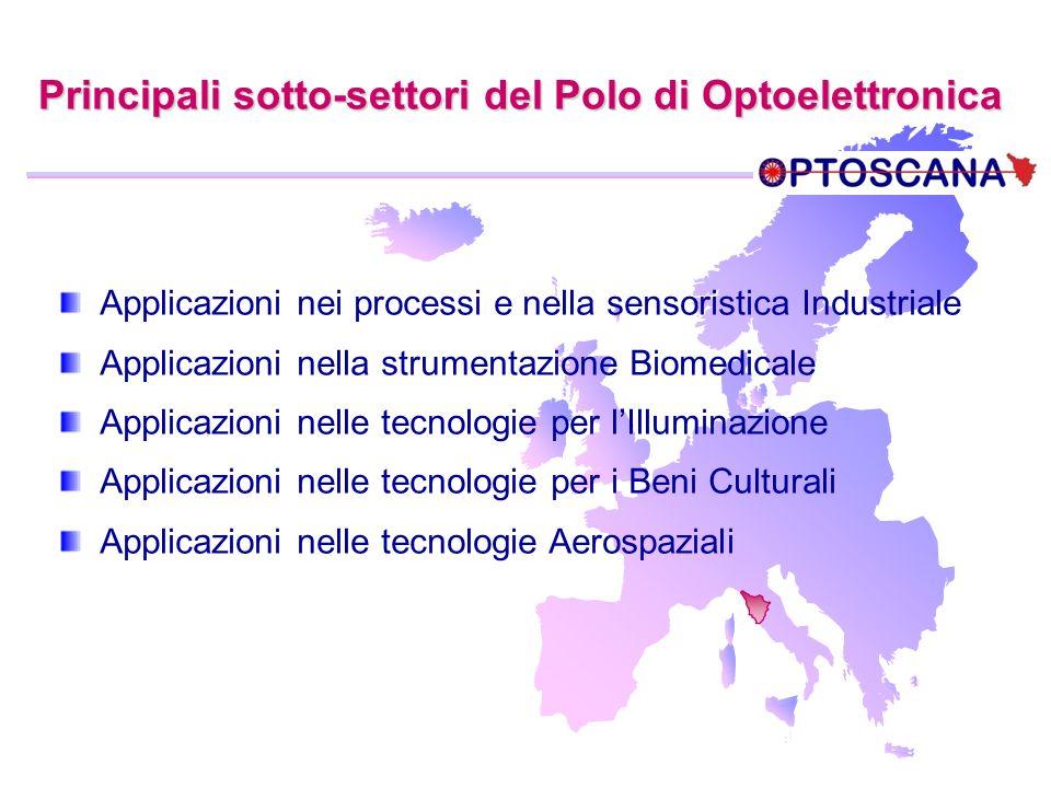 Principali sotto-settori del Polo di Optoelettronica Applicazioni nei processi e nella sensoristica Industriale Applicazioni nella strumentazione Biom