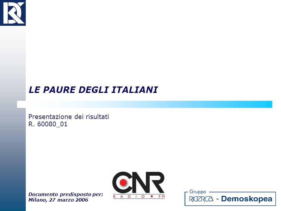 LE PAURE DEGLI ITALIANI Presentazione dei risultati R. 60080_01 Documento predisposto per: Milano, 27 marzo 2006