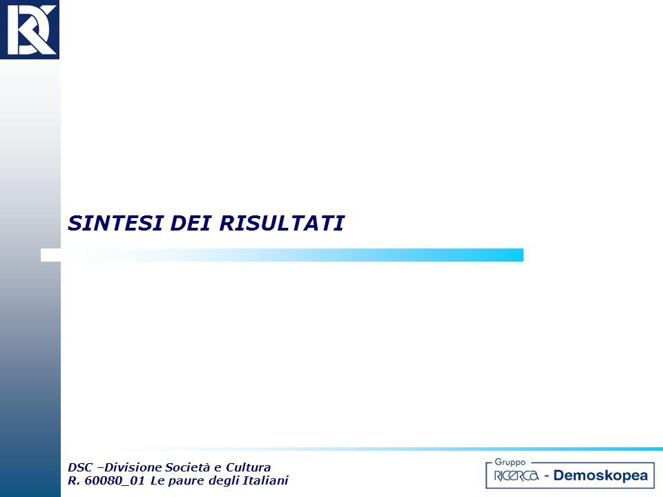 DSC –Divisione Società e Cultura R. 60080_01 Le paure degli Italiani SINTESI DEI RISULTATI