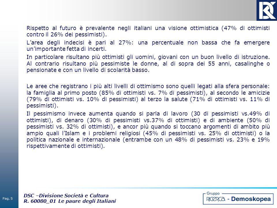 Pag. 5 DSC –Divisione Società e Cultura R. 60080_01 Le paure degli Italiani Rispetto al futuro è prevalente negli italiani una visione ottimistica (47