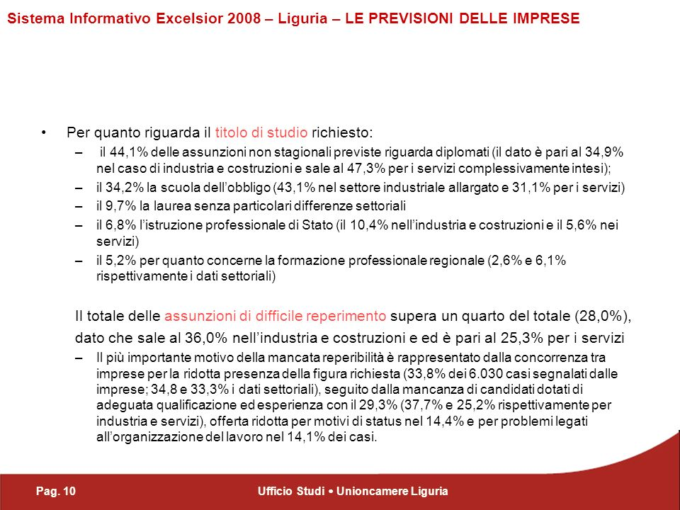 Pag. 10Ufficio Studi Unioncamere Liguria Sistema Informativo Excelsior 2008 – Liguria – LE PREVISIONI DELLE IMPRESE Per quanto riguarda il titolo di s