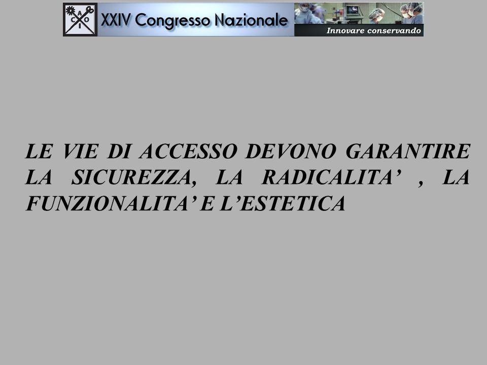 VIE DI ACCESSO PER TUMORI DIFFERENZIATI (MAGGIORE SCELTA) MINICERVICOTOMIA CERVICOTOMIA ALTA CERVICOTOMIA MEDIA CERVICOTOMIA BASSA ACCESSO LATERO-CERVICALE MONOLATERALE CERVICOTOMIA TRASVERSALE ALLARGATA CERVICOTOMIA A T (SPLIT STERNALE) ACCESSO STERNOTOMICO