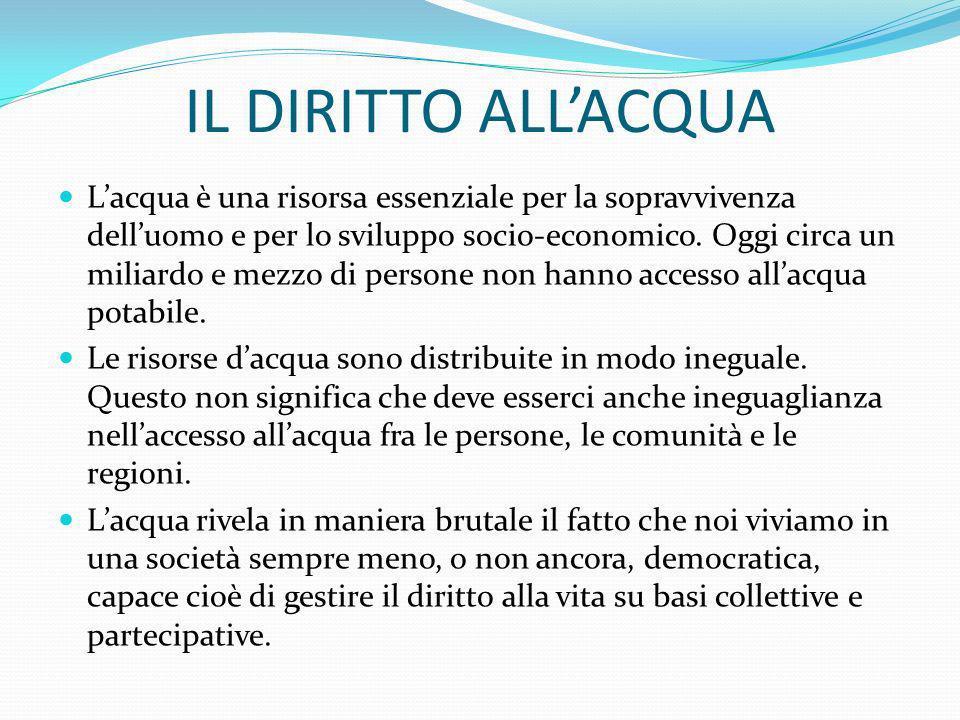 IL DIRITTO ALLACQUA Lacqua è una risorsa essenziale per la sopravvivenza delluomo e per lo sviluppo socio-economico. Oggi circa un miliardo e mezzo di