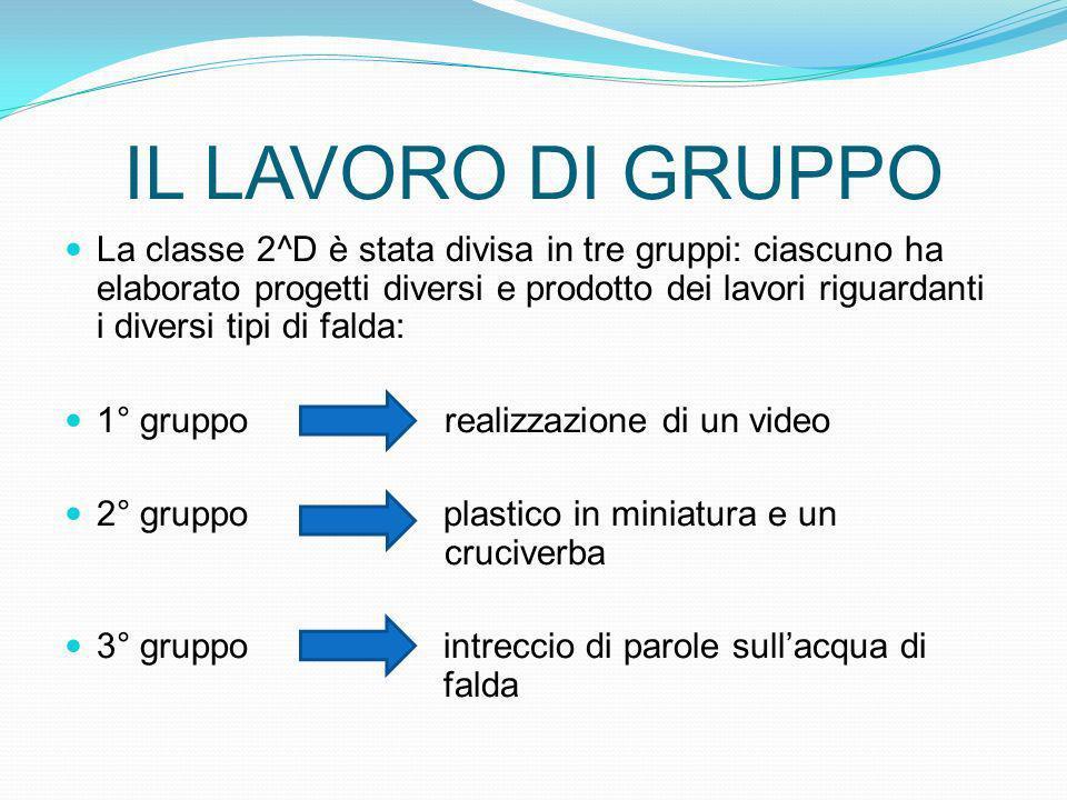 IL LAVORO DI GRUPPO La classe 2^D è stata divisa in tre gruppi: ciascuno ha elaborato progetti diversi e prodotto dei lavori riguardanti i diversi tip