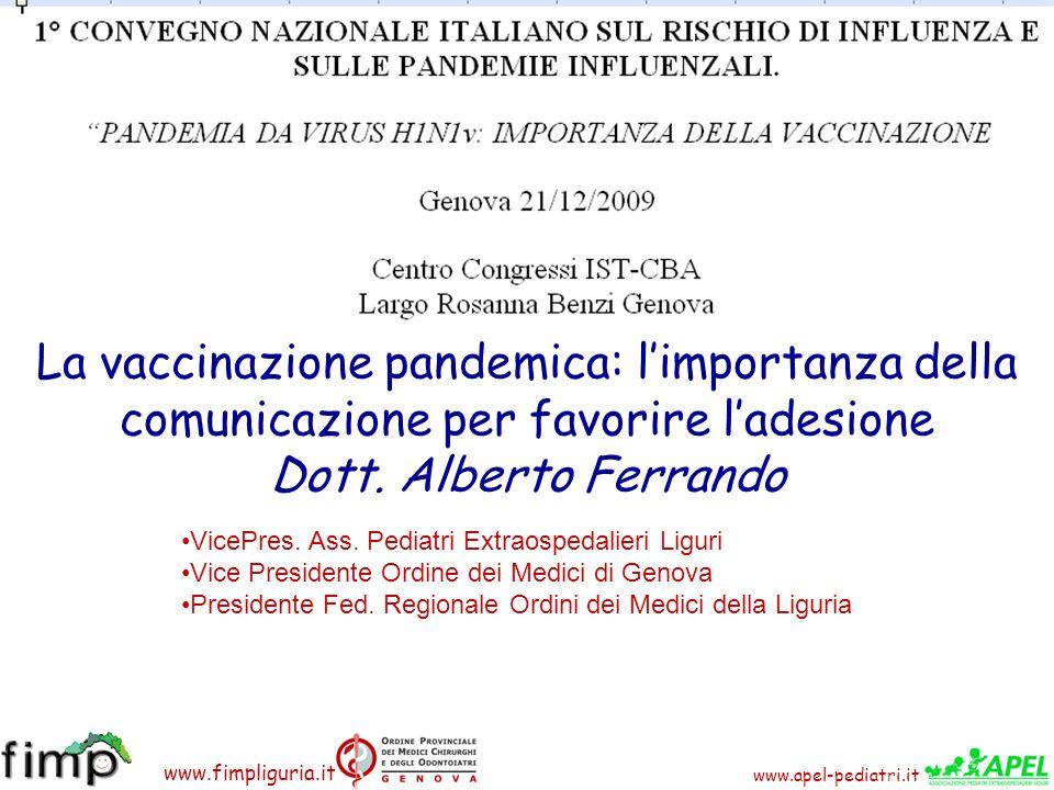 www.apel-pediatri.it www.fimpliguria.it La vaccinazione pandemica: limportanza della comunicazione per favorire ladesione Dott. Alberto Ferrando ViceP