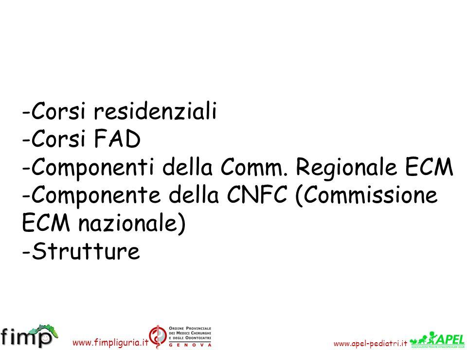 www.apel-pediatri.it www.fimpliguria.it -Corsi residenziali -Corsi FAD -Componenti della Comm. Regionale ECM -Componente della CNFC (Commissione ECM n