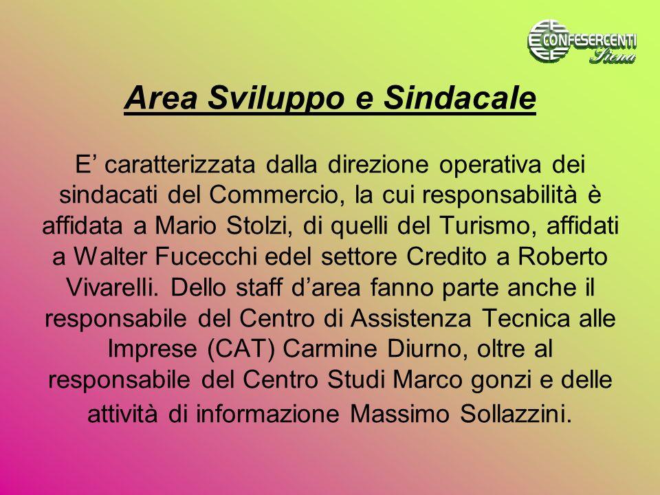 Area Sviluppo e Sindacale E caratterizzata dalla direzione operativa dei sindacati del Commercio, la cui responsabilità è affidata a Mario Stolzi, di