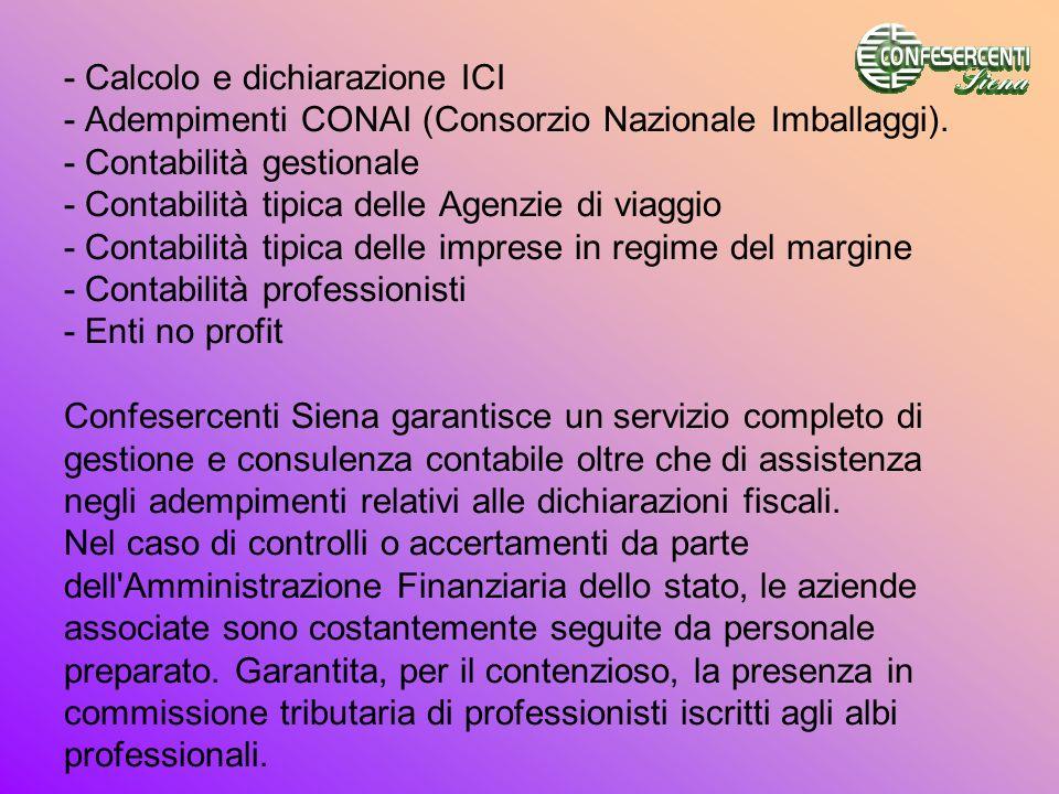 - Calcolo e dichiarazione ICI - Adempimenti CONAI (Consorzio Nazionale Imballaggi). - Contabilità gestionale - Contabilità tipica delle Agenzie di via