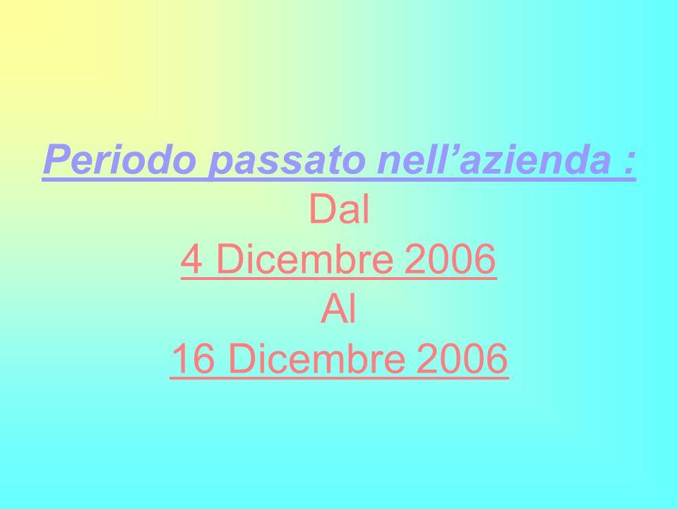 Periodo passato nellazienda : Dal 4 Dicembre 2006 Al 16 Dicembre 2006