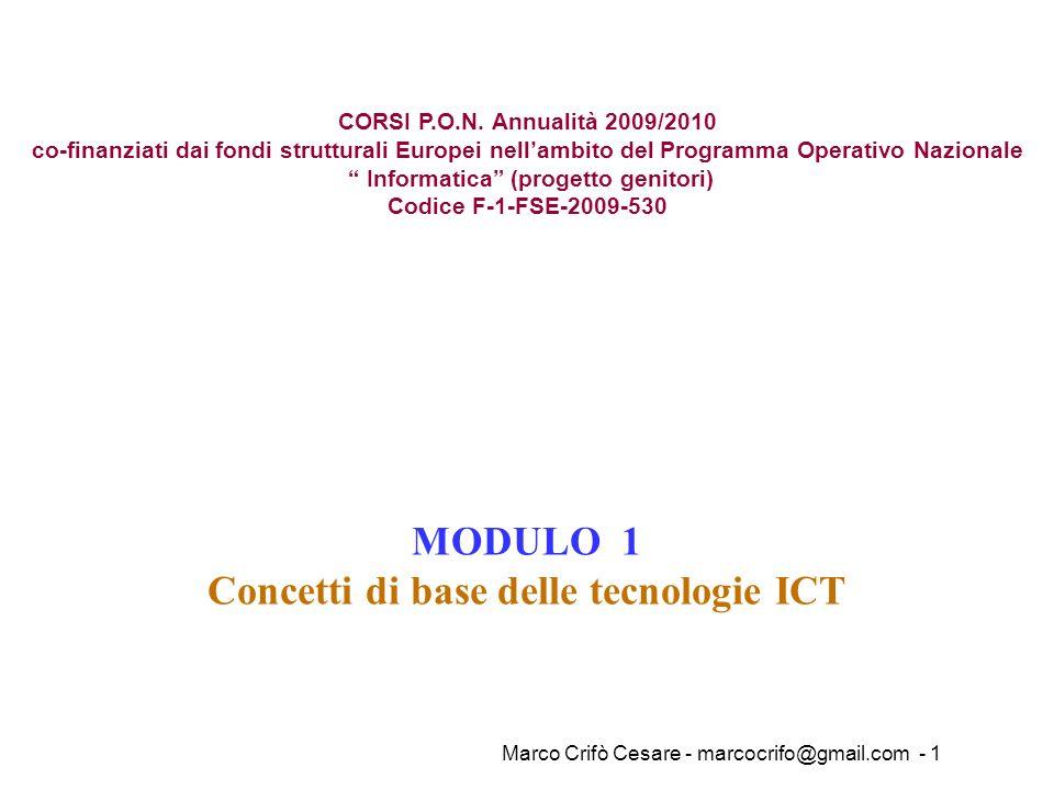 Marco Crifò Cesare - marcocrifo@gmail.com - 1 MODULO 1 Concetti di base delle tecnologie ICT CORSI P.O.N. Annualità 2009/2010 co-finanziati dai fondi