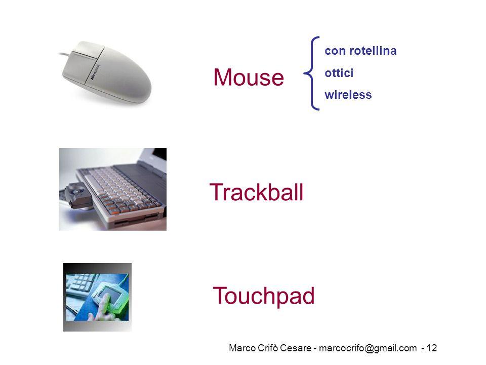 Marco Crifò Cesare - marcocrifo@gmail.com - 12 Trackball con rotellina ottici wireless Mouse Touchpad