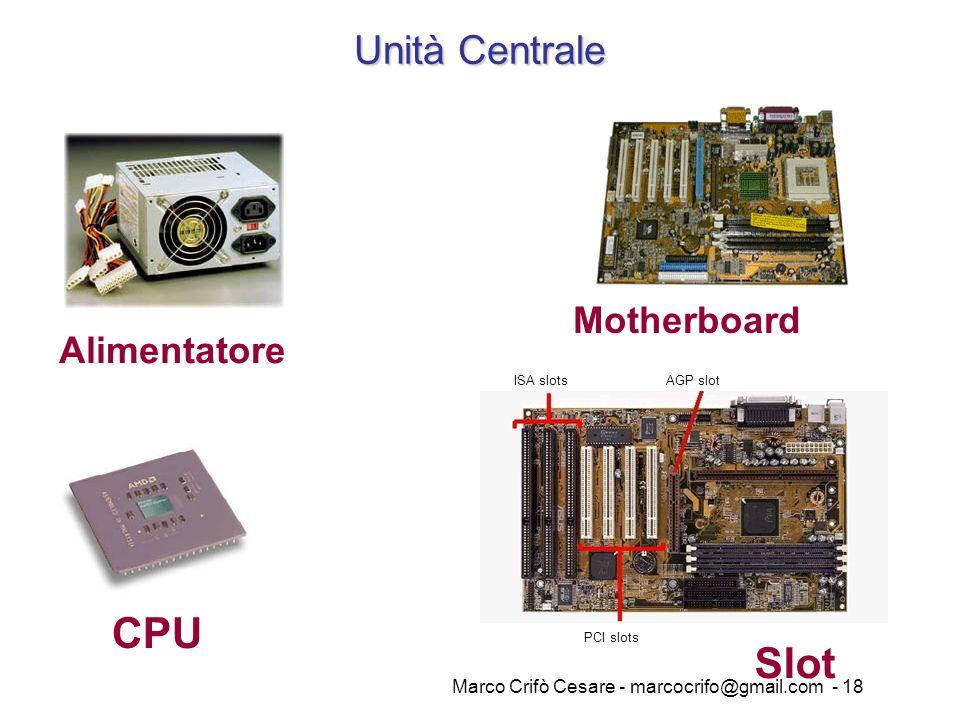Marco Crifò Cesare - marcocrifo@gmail.com - 18 Alimentatore Motherboard CPU ISA slotsAGP slot PCI slots Slot Unità Centrale