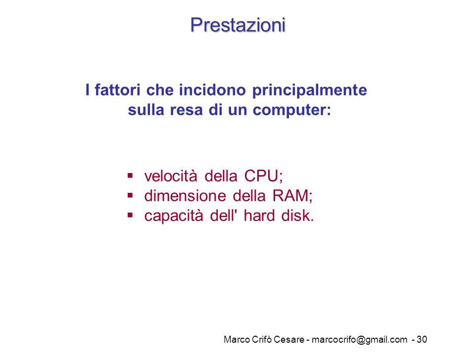 Marco Crifò Cesare - marcocrifo@gmail.com - 30 Prestazioni I fattori che incidono principalmente sulla resa di un computer: velocità della CPU; dimens