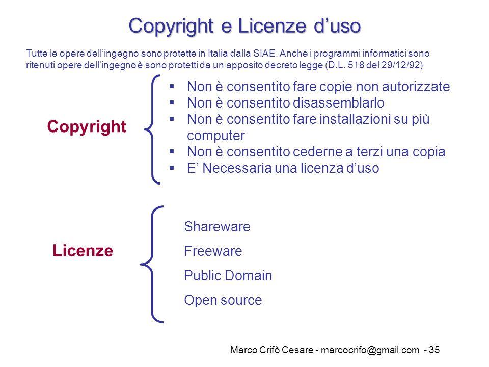 Marco Crifò Cesare - marcocrifo@gmail.com - 35 Copyright e Licenze duso Copyright Non è consentito fare copie non autorizzate Non è consentito disasse