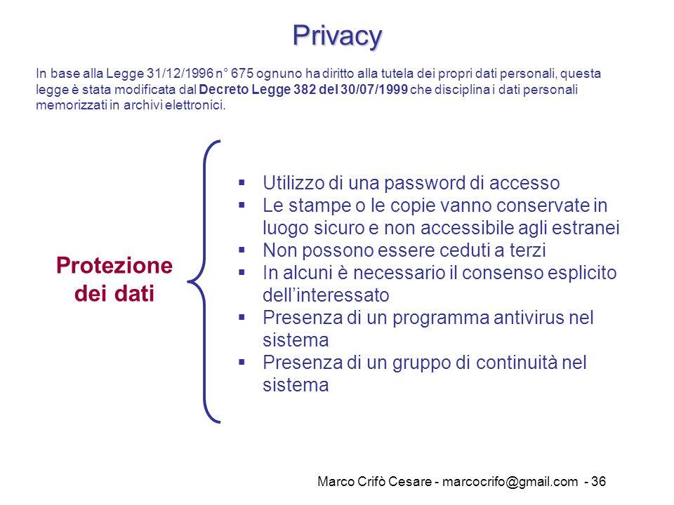 Marco Crifò Cesare - marcocrifo@gmail.com - 36 Privacy Protezione dei dati Utilizzo di una password di accesso Le stampe o le copie vanno conservate i