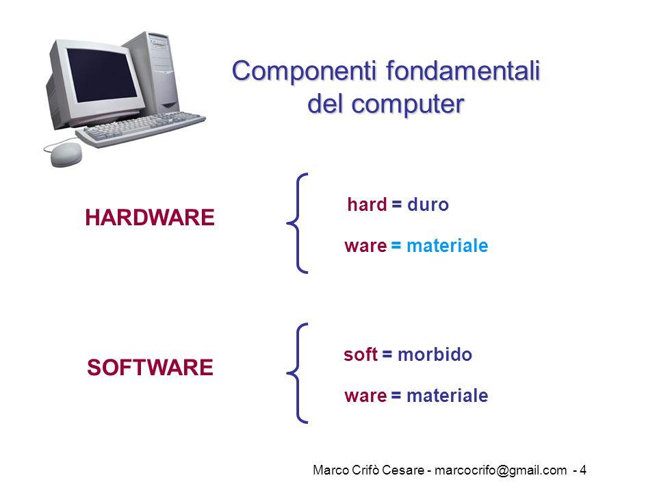 Marco Crifò Cesare - marcocrifo@gmail.com - 4 HARDWARE hard = duro Componenti fondamentali del computer ware = materiale SOFTWARE soft = morbido ware