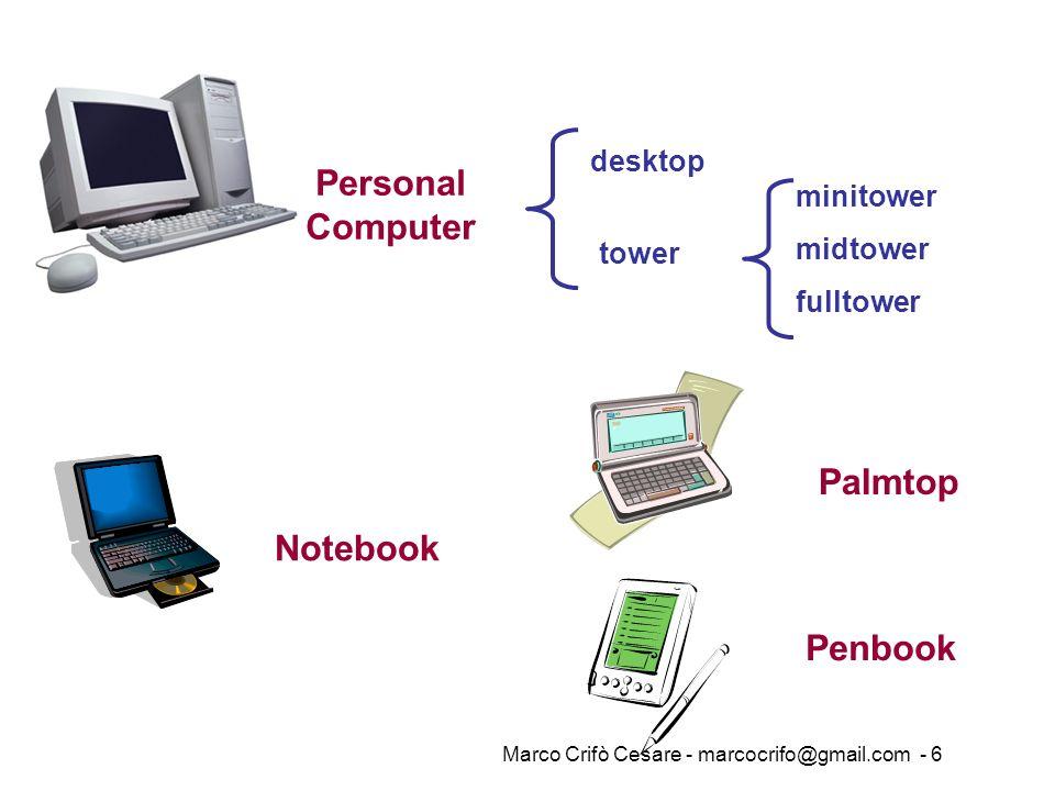 Marco Crifò Cesare - marcocrifo@gmail.com - 6 Personal Computer desktop tower minitower midtower fulltower Notebook Palmtop Penbook